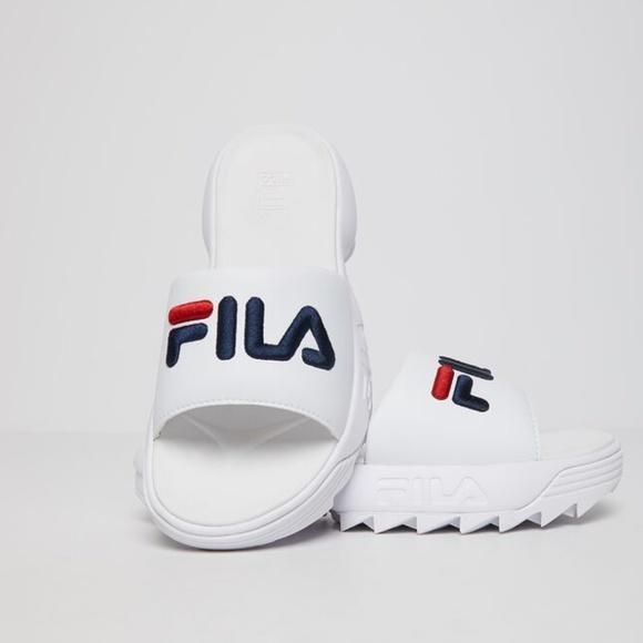 fila disruptor white sandals